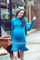 Осенью и зимой одежда беременных женщин вязать свитер с длинным дна вязать свитер платье