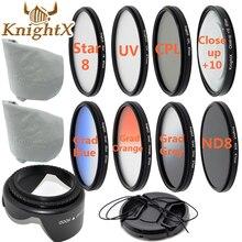 KnightX Kit de lentes SLR Macro Primer plano filtro gradiente UV CPL para canon 600d 700d nikon d5200 d5300 d5500 sony 52mm 58mm 67mm