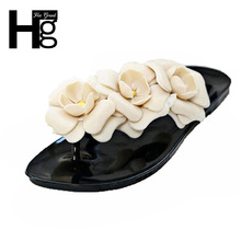 HEE GRAND 2017 Summer Big Camellia Candy Color Women Sandals Female Flip Flops Low Flat  Women Shoes XWZ455