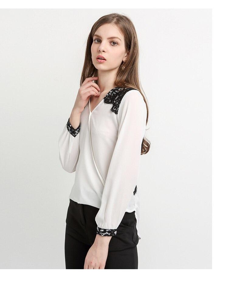 Lace Patchwork V-Neck Long Sleeve Shirt Blouse 2
