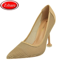 Summer Women Pumps Woman High Heels 2019 New Mesh Hollow Sexy Nightclub Party Fashion Tip 9.5CM ladies Shallow mouth Shoes цена
