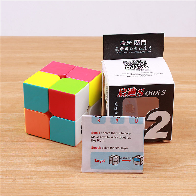 QIYI QIDI 2X2X2 MAGIC SPEED CUBE POCKET STICKERless 50 MM PUZZLE CUBE - ფაზლები - ფოტო 6