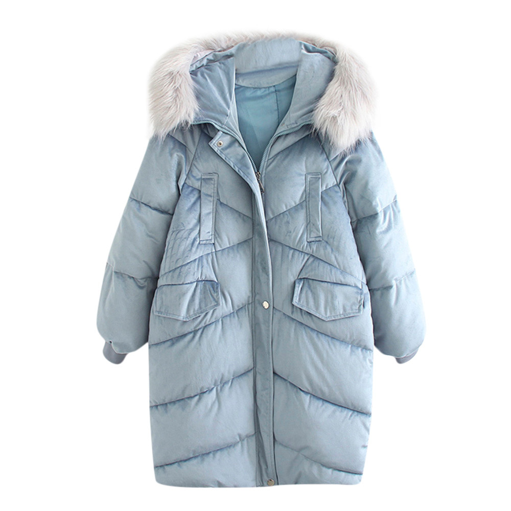 Women Coat Winner Casual Polyester Large Size Print Thick Long Hair Large Fur Collar Down Winter Jacket Loose Long Down Z1126