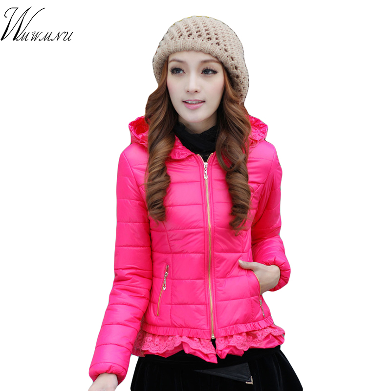 Women Elegant Ruffles Winter Short Jacket 2018 Fashion Autumn New Hooded Cotton Padded Coat For Ladies Solid Colors Casual   Parka