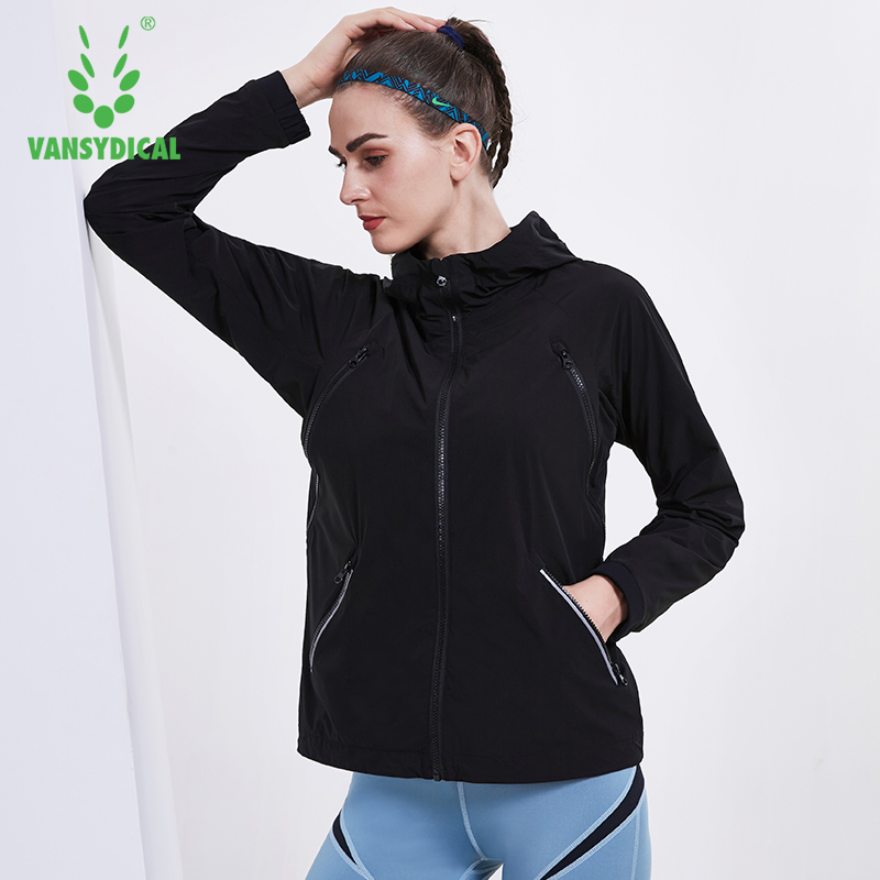 Vansydical Women Outdoor Running Jacket Winter Sports Coat Running Yoga Jackets Warm Hooded Windbreaker Fitness Workout Tops