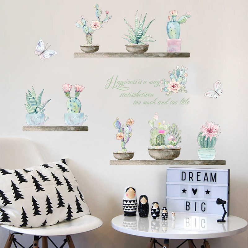 Ogród rośliny doniczkowe kaktus Aloe naklejki ścienne wystrój domu salon kwiat motyl Bonsai naklejka ścienna DIY pcv plakat ścienny