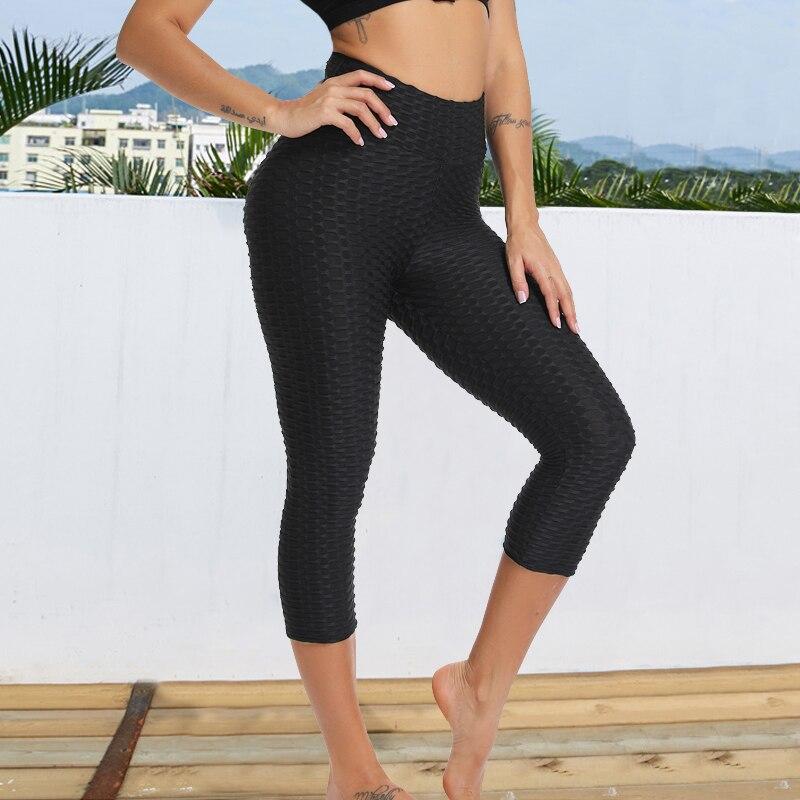 women Hot 3/4 Yoga Pants Capri Sport leggings Push Up Tights Gym Exercise High Waist Fitness Running Athletic Trousers