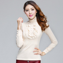 2019 New Spring Plus Size Women T Shirt Lace Decorative Long Sleeves Tshirt Female Casual Cotton T-shirts Turtleneck Tee Tops все цены