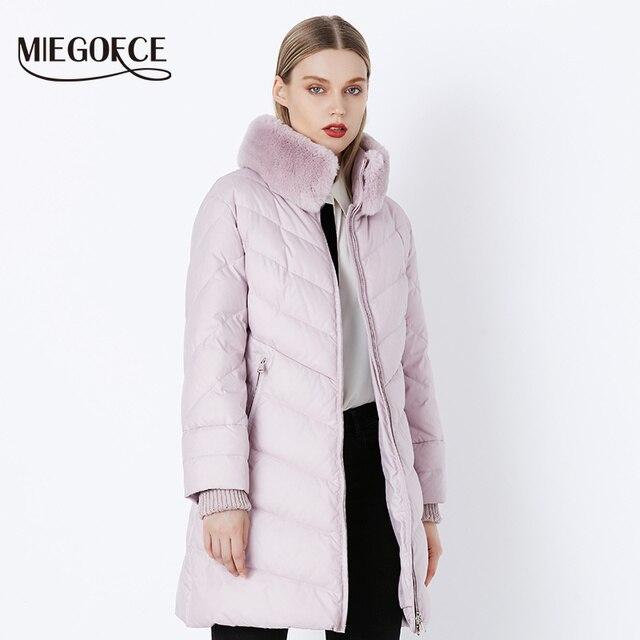 MIEGOFCE 2018 Зимняя женская коллекция био-пух женская толстое пальто европейский стиль кроличий мех женская теплая куртка с воротником