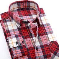 OUSIDI Brand 2017 Autumn Winter Fashion Slim Comfort Men Flannel Plaid Shirt 100 Cotton Casual Long