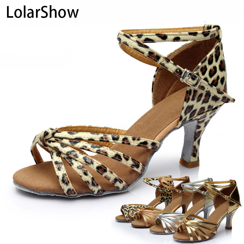 7cm High Heel Comfortable Ladies Ballroom Shoes With Competitive Price Leopard Latin Model