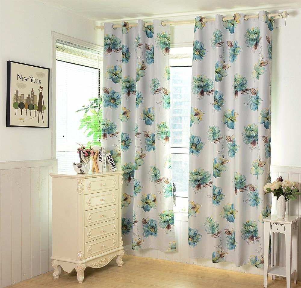 Nueva llegada estampado de flores verde fresco cortina de tela - Textiles para el hogar