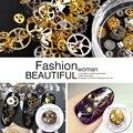 1Box Gear DIY Nails Rhinestones Ultra-thin Punk Style Studs 3D Nail Art Decorations Wheel Nails Suplies Gold Steam Machine Tools