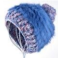 Мода зимние шапки для женщин Благородный и элегантный шляпа Мех Кролика weave шапочка Вязание шерсть Натуральный Мех Повседневная симпатичные gorros девушки cap