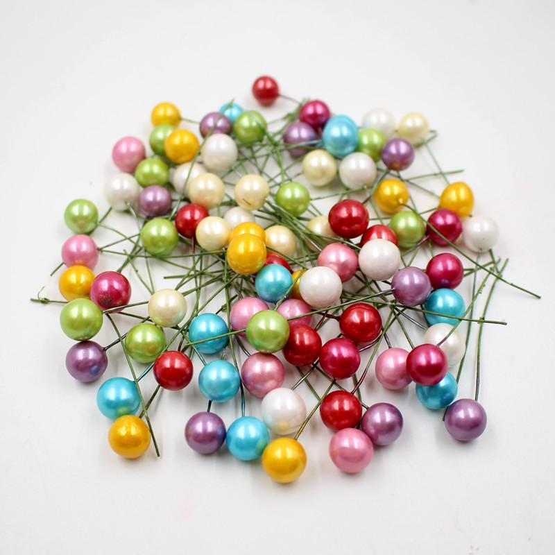 40pcs lot mini plastic Artificial flower pearl stamens small berries cherry pearlescent wedding DIY gift boxes