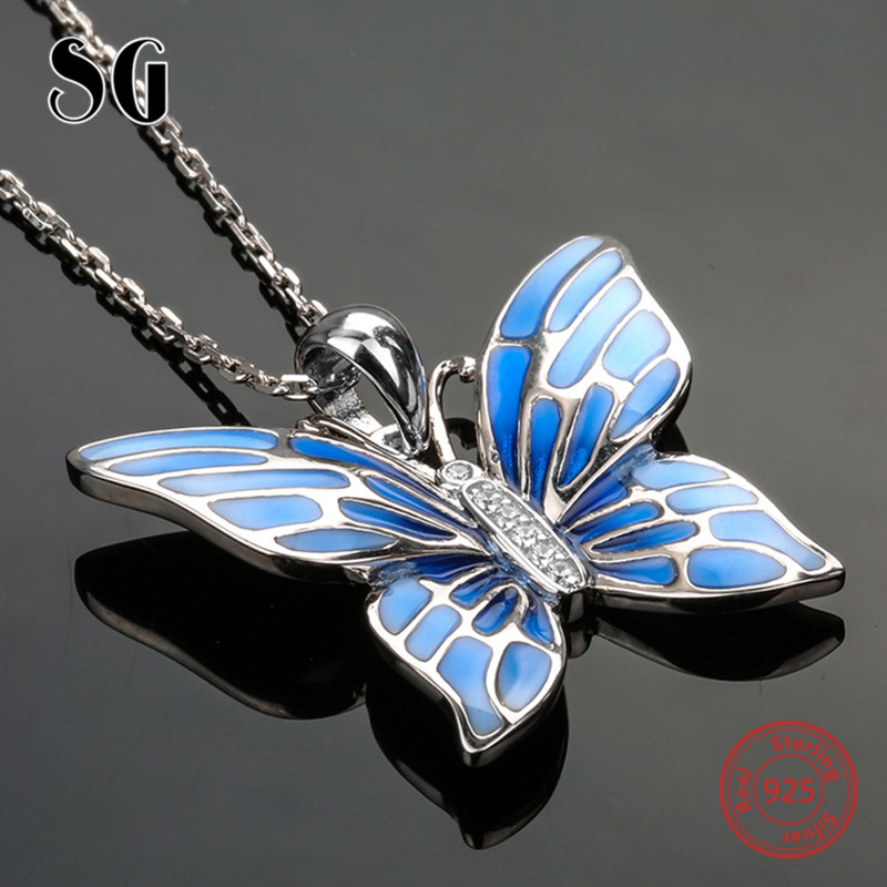 2018 sterling silver 925 lovely butterfly chain pendant&necklace with blue enamel diy fashion jewelry making for women gifts rainmarch 925 sterling silver pendant for women necklace blue enamel flower necklace pendant with cz enamel jewelry accessories