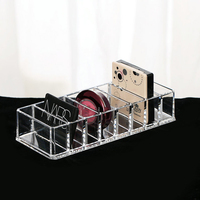 Fashion Clear Acrylic 8 Slots Cosmetic Organizer Powder Storage Box Household Women Makeup Tool Case Cosmetic
