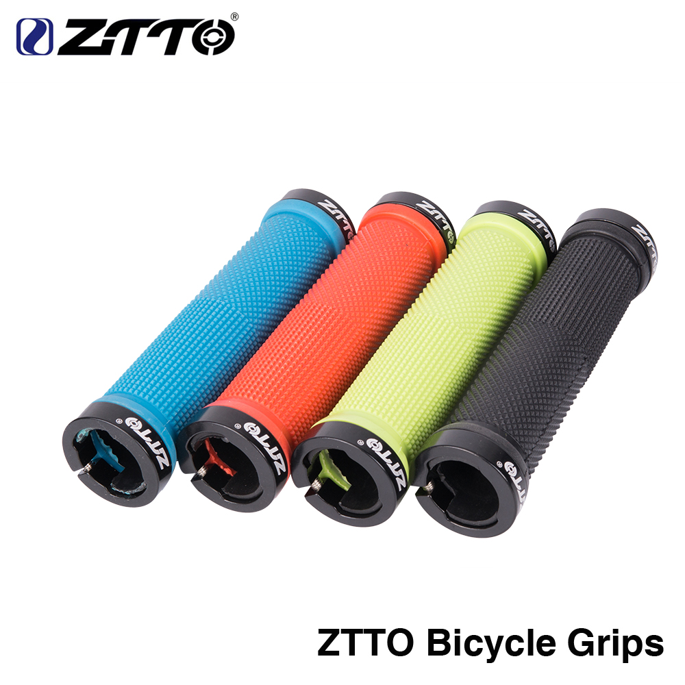 1Pair ZTTO Cycling Lockable Handle Grip Anti slip Grips for MTB Folding Bike Handlebar bicycle parts AG-16 Alloy + Rubber hj18 anti slip aluminum alloy rubber decorative motorcycle handlebar covers black pair