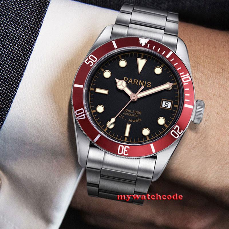 Saatler'ten Mekanik Saatler'de Lüks Marka erkek saati Otomatik Parnis 41mm siyah kadran süper parlak tarihi 8215 Otomatik Mekanik erkek Saatler kol saati'da  Grup 1
