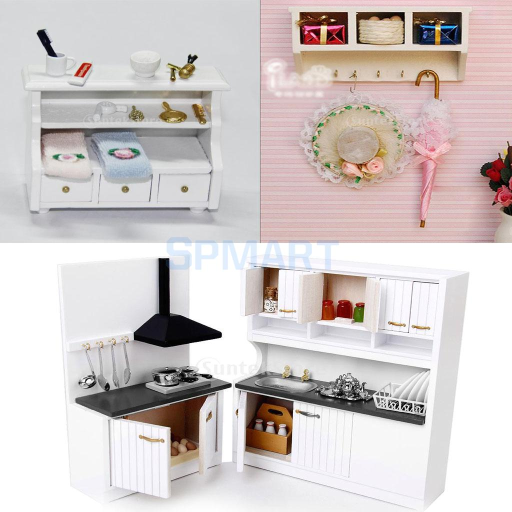 European style 1 12 dollhouse miniature wooden white kitchen furniture set sink stove toilet cabinet wall rack bathroom decor in furniture toys from toys