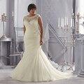 Discount Opulento Marfim/Branco com Crystal Beading e Apliques Organza Da Sereia Plus Size Vestidos de Casamento 2015 com Mangas