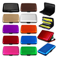QOONG 5 Pieces Travel Card Wallet Aluminum Business Men Women Waterproof Credit Card ID Holder Case Shiny Metal Cardholder 1-002