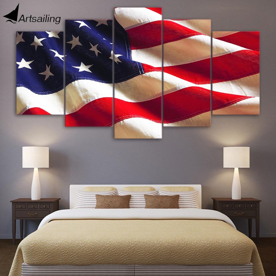 €5.47 40% de réduction|HD imprimé 5 pièces toile art drapeau américain usa  peinture mur art photos pour salon moderne livraison gratuite/CU 220B-in ...
