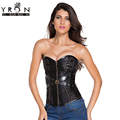 Hot 2017 Waist Corsets And Bustiers Plus Size Black Zip Front Steampunk Espartilhos Corset Corselet With Thong LC5394