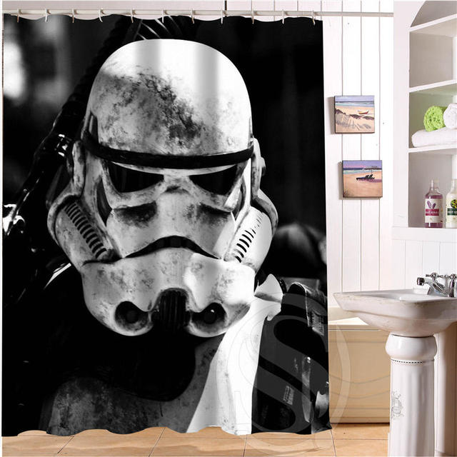 New Hot Custom Star Wars Shower Curtain Polyester Fabric Printing Bathroom Waterproof With Hook Bath Gift
