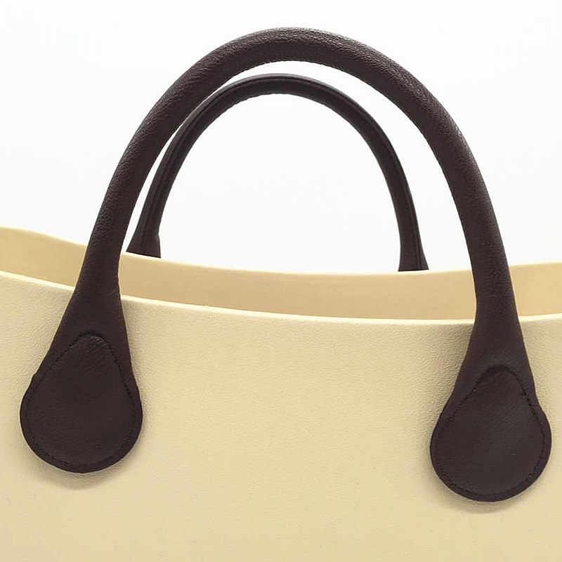 Punhos pretos do couro do plutônio 65 cm para o saco tote do silicone de obag