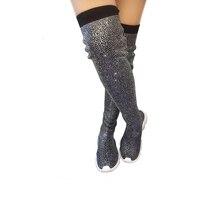 Fashion Autumn Winter Women Knitting Sock Boots Sport Flat Handmade Rhinestones Sneaker Thigh High