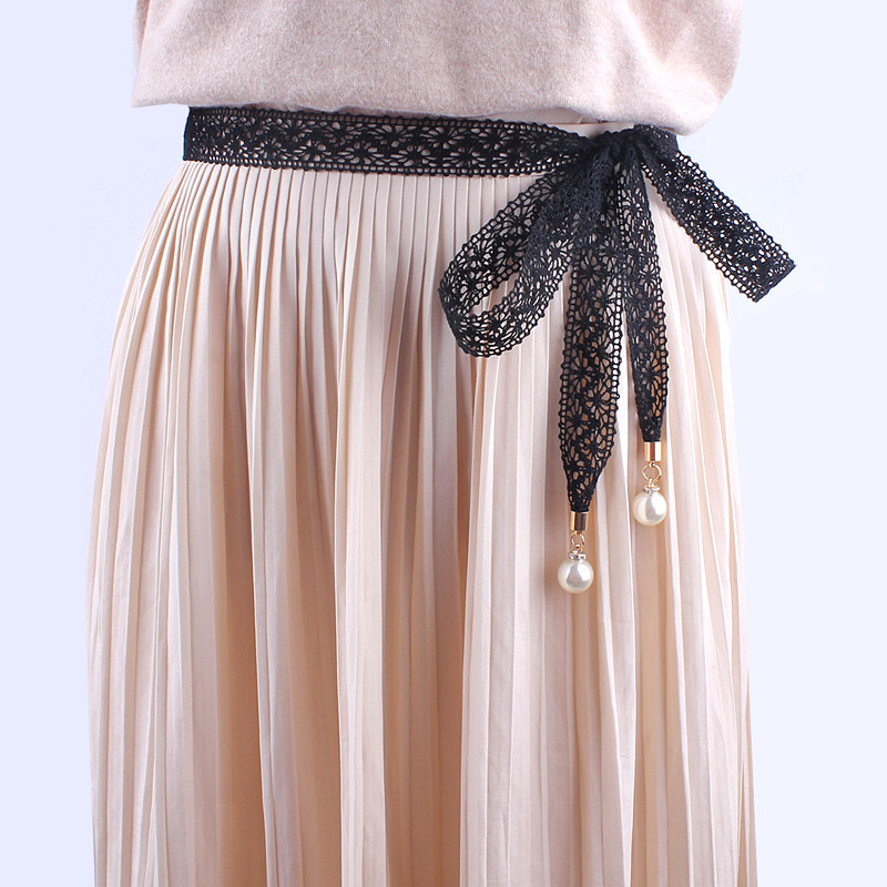 women Fashion lace hollow girdle thin pearl   belt   rope for dresses tassel waistband   belt   knot decorated narrow ribbon black