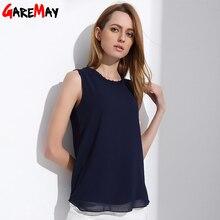 GAREMAY рубашка женские летние шифоновые топы белые блузки без рукавов для женщин Одежда с рюшами элегантные винтажные женские рубашки T098