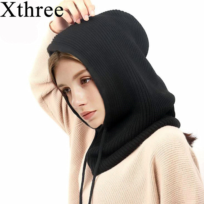 Xthree Cashmere Winter Women's Hat and Scarf Knitted   Skullies     Beanies   Hats For Women Men Cap Solid Bonnet Mask Brand Hat
