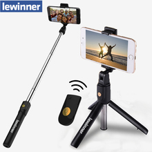 Lewinner 3 em 1 sem fio bluetooth selfie vara mini tripé extensível monopod universal para iphone x 8 7 6s para samsung/huawei