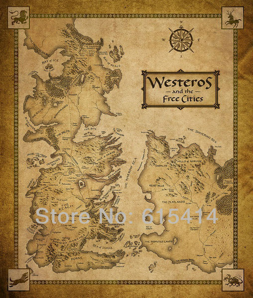 06 Game of Thrones GOT Houses Map Westeros And Free Cities 14''x16'' wall Poster with Tracking Number