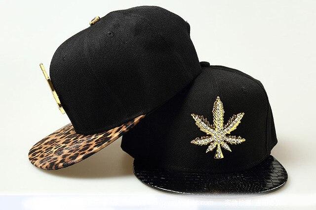 70d71f8a2b4 Leopard Leather Snapback Hat Cap Adjustable Leather Hip Hop Hat Cap Diamond  Maple Leaf Men Women