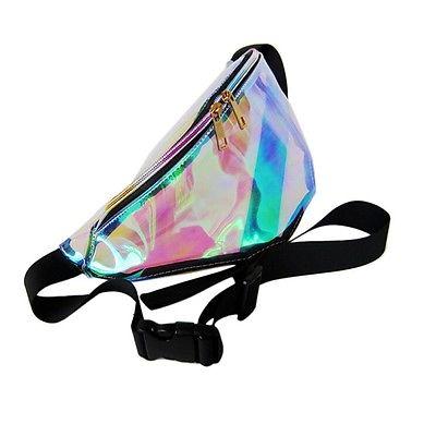 7 Colors Rainbow Transparent Bag Punk FANNY PACK Punk Bum Bag Chic Hologram Purse Fashion Waist Pack