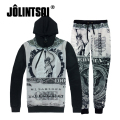 Jolintsai Funny 3D Printing Sportwear Men 2017 Sweatshirt&Sweatpants Tracksuit Men Pullover Set Hoodies Men Sweat Suits