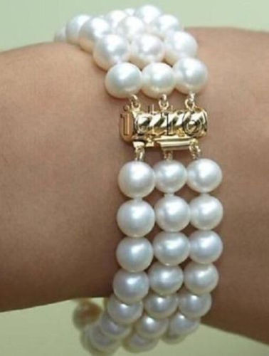 3 row 7.5-8 8-9MM AAA+ SOUTH SEA GENUINE WHITE PEARL BRACELET3 row 7.5-8 8-9MM AAA+ SOUTH SEA GENUINE WHITE PEARL BRACELET