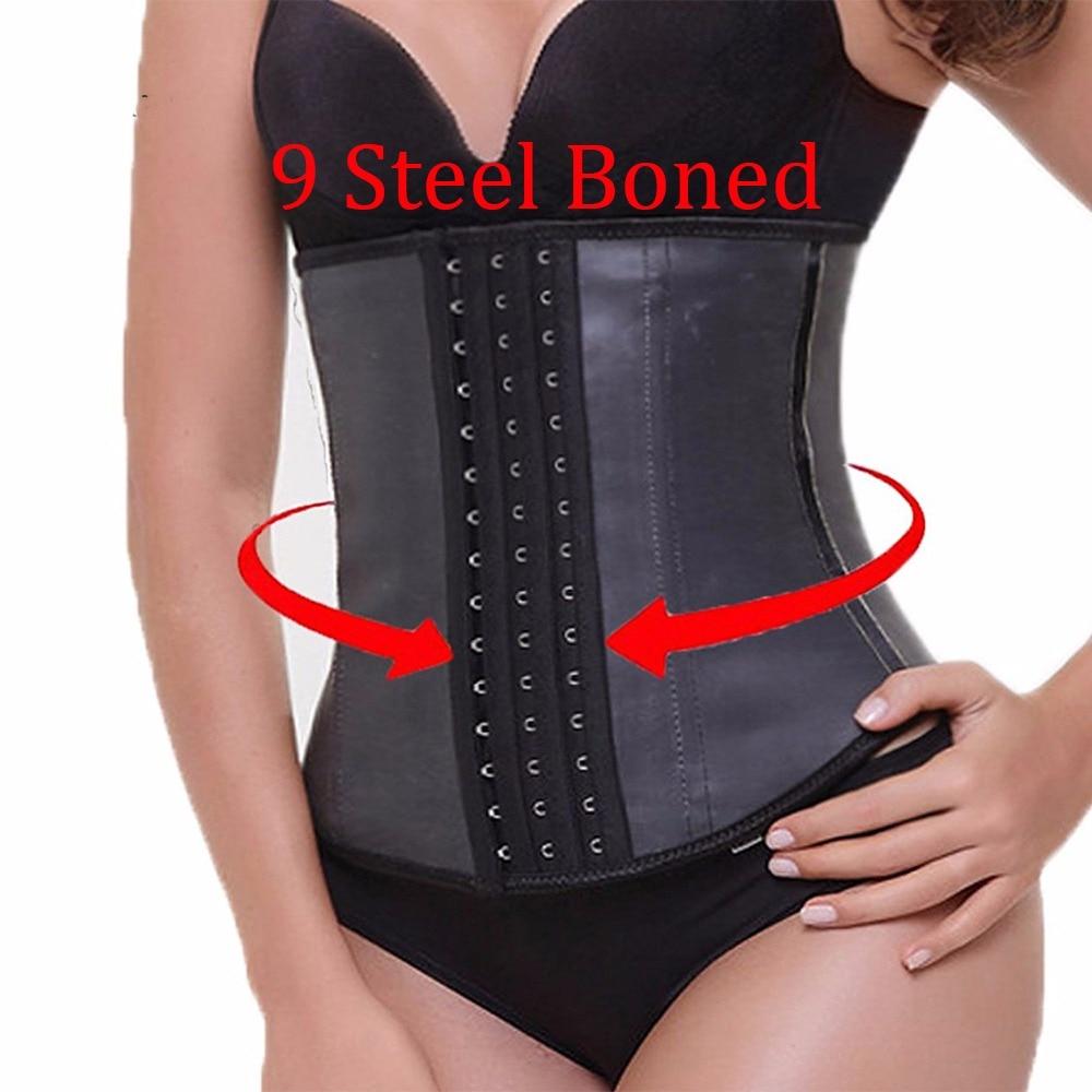 d055423a64 9pcs Steel Bone Waist Trainer Latex Shapewear Slimming Belt Waist Cincher  Hot Body Shaper Girdle Workout