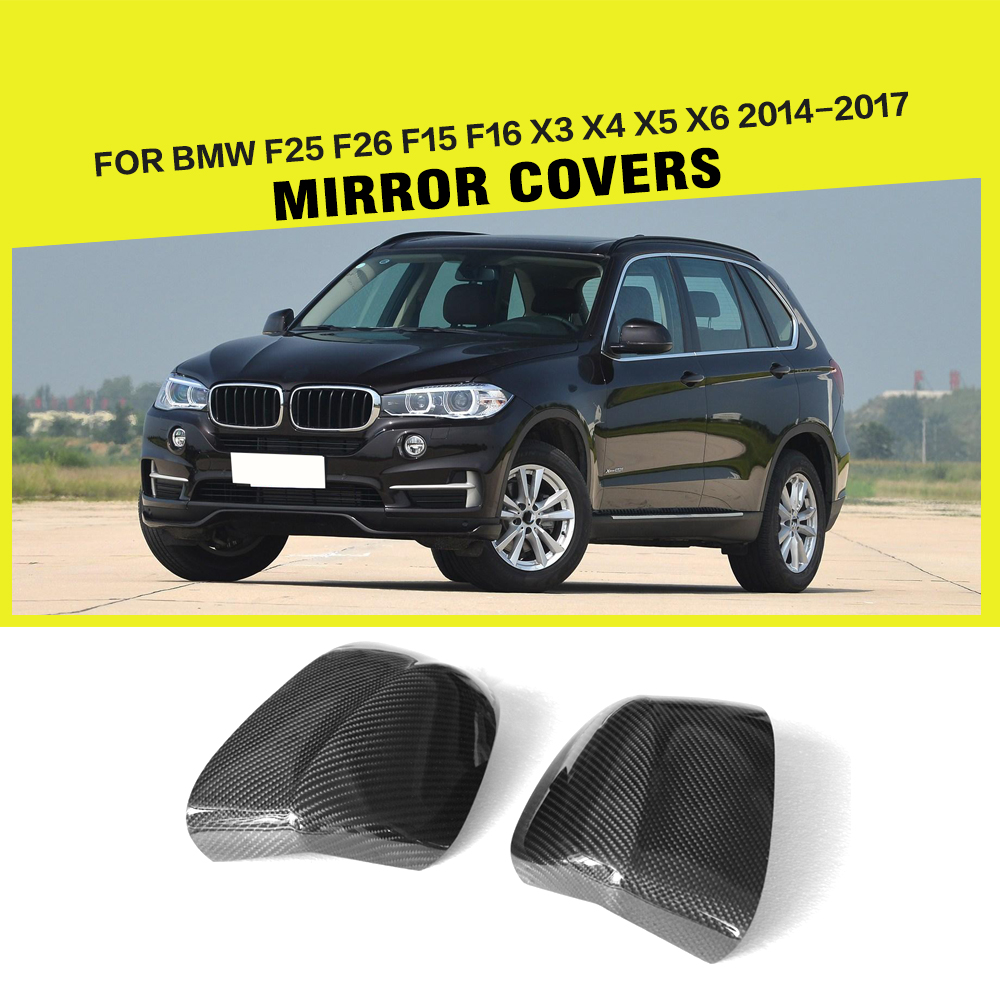 Car-Styling Carbon Fiber Side Review Mirror Caps Covers For BMW X Series X3 E83 X4 F26 X5 F15 X6 F16 2014-2017 carbon fiber car styling rear review