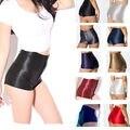 Alta Cintura Elástico Brillante Mujeres Niñas Discoteca Pantalones Cortos Pantalones Cortos De Raso Pantalones Calientes Del Color Del Caramelo Envío Gratis