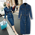 ChoiceShine Women Dress Vestidos Long Sleeve Single Breasted Slim Waist Long Dress Vintage Oversize Casual Dress Denim Dress