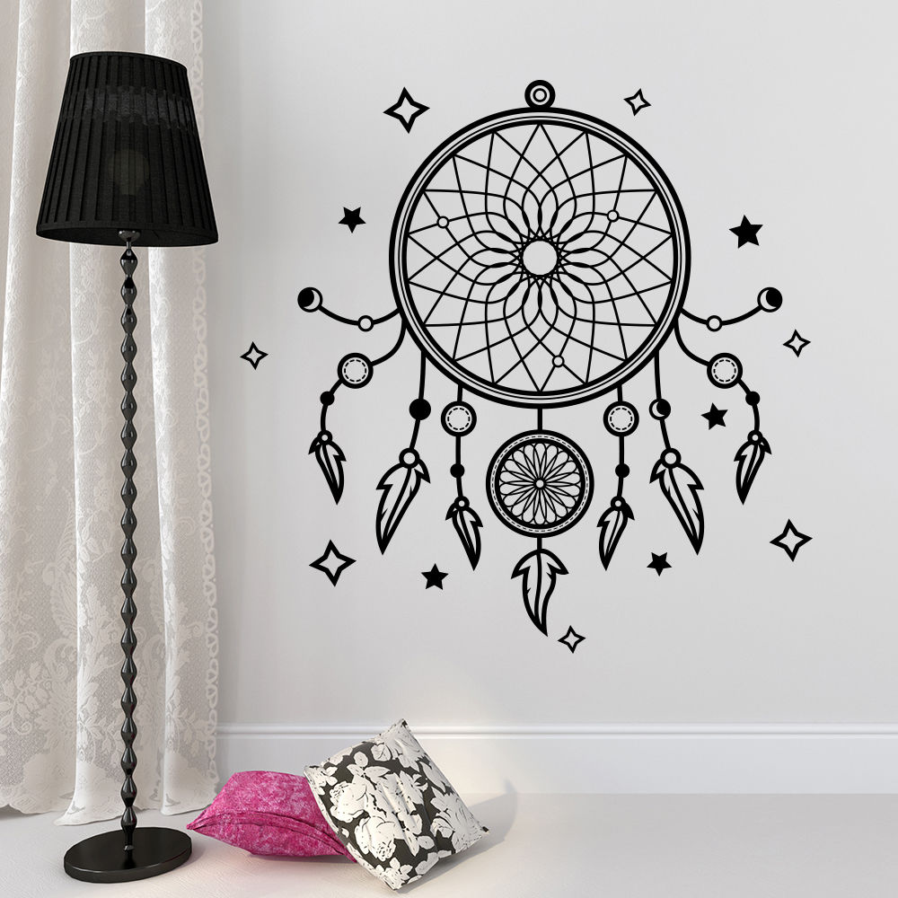 Dream Catcher Wall Sticker Vinyl Removable Dreamcatcher Home Decor Yoga Studio Wall Mural Boho Bedroom Wallpaper W432 in Wall Stickers from Home Garden