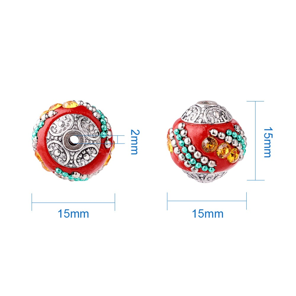 Image 5 - 100pc 15mm Handmade Indonesia Beads With Alloy Cores Round Mixed Color Antique Silver For DIY Jewelry Making Bracelets Supplies-in Beads from Jewelry & Accessories