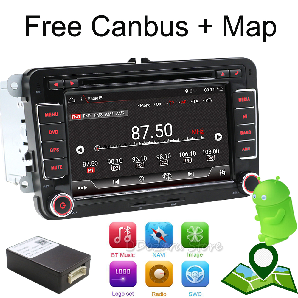 Android 7.1 7 2din Car DVD for VW POLO GOLF 5 6 POLO PASSAT B6 CC JETTA TIGUAN TOURAN EOS SHARAN SCIROCCO CADDY with GPS Navi bluetooth link car kit with aux in interface & usb charger for vw bora caddy eos fox lupo golf golf plus jetta passat polo