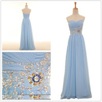 2014 New Real Fashion Sexy A Line Silk Chiffon Crystals Sweetheart Neck Prom Party Dresses Long