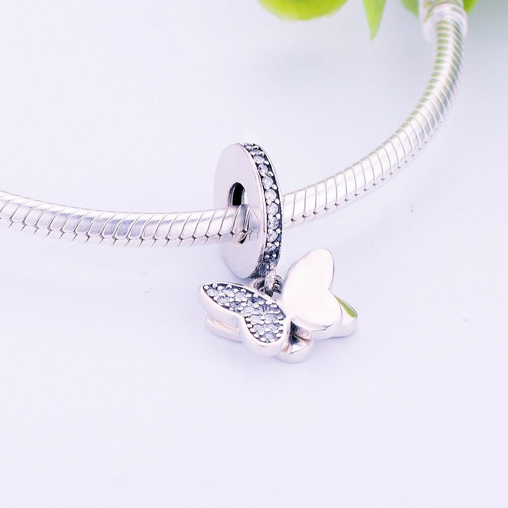 100% 925 Sterling Silver Pärlor Fladdrande Fjärilar Hängsmycke - Märkessmycken - Foto 4