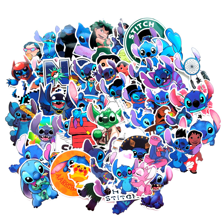 52 Pcs/Set Classics  Stitch Cute Cartoon Stickers Scrapbooking Stickers For Luggage Laptop Notebook Car Motorcycle Toy Phone